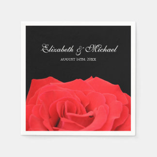 Red Rose and Black Personalized Wedding Disposable Napkins