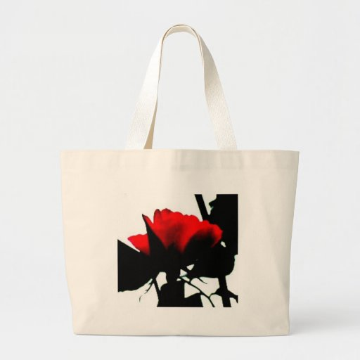 Red rose and black stem canvas bags