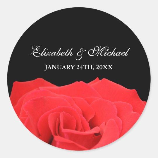 Red Rose and Black Wedding Favor Label