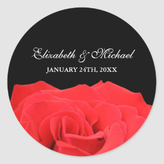 Red Rose and Black Wedding Favor Label Classic Round Sticker