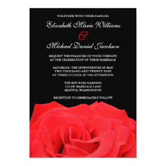 "Red Rose and Black Wedding Invitations 5"" X 7"" Invitation Card"