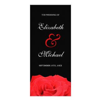 Red Rose and Black Wedding Program Custom Rack Cards