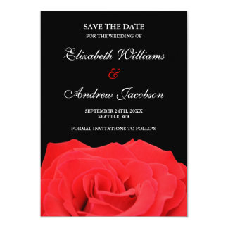 Red Rose and Black Wedding Save the Date Card