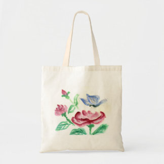 Red Rose and Blue Butterfly, Sumi-e in color Tote Bag