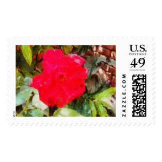 Red rose and brick wall stamps