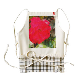 Red rose and brick wall zazzle HEART apron