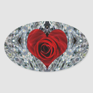 Red Rose and crystals Oval Sticker