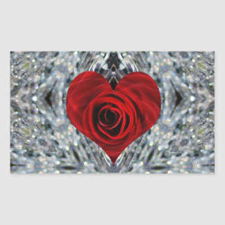 Red Rose and crystals Rectangular Sticker
