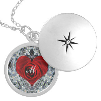 Red Rose and crystals Round Locket Necklace