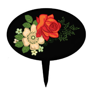 Red Rose and Daisies Black Background Cake Topper