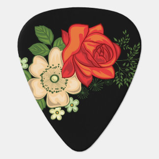 Red Rose and Daisies Black Background Guitar Pick