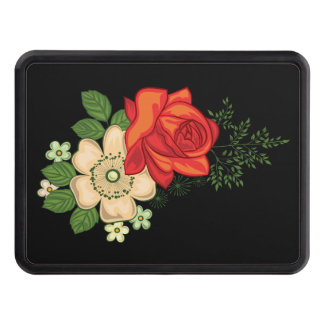 Red Rose and Daisies Black Background Hitch Cover