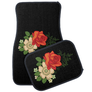 Red Rose and Daisies Black Background Floor Mat