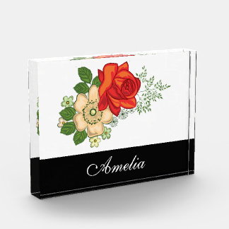 Red Rose and Daisies Black Personalized Name Acrylic Award