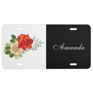 Red Rose and Daisies Black Personalized Name License Plate