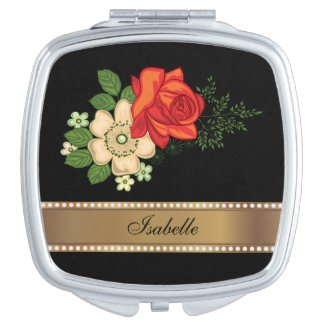 Red Rose and Daisies Gold Personalized Name Vanity Mirror