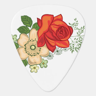 Red Rose and Daisies Guitar Pick