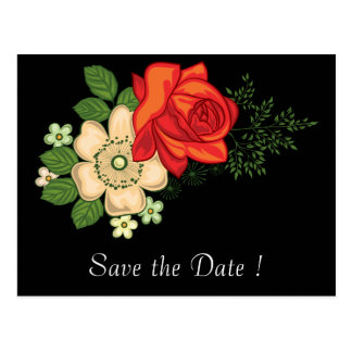 Red Rose and Daisies Save the Date 80th Birthday Postcard