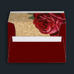 """Red Rose and Faux Gold Glitter Envelopes<br><div class=""""desc"""">Red Rose and Faux Gold Glitter Envelopes. Design created by Colourful Designs Inc. Copyright 2016</div>"""