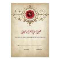 Red Rose And Floral Ornament Card