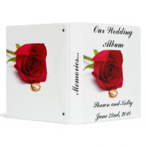 Red Rose and Gold Diamond Ring 3 Ring Binders