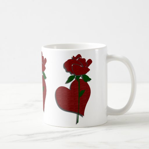 Red Rose and Heart Pattern Mug