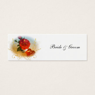 Red Rose and Heart Wedding Favor Tags