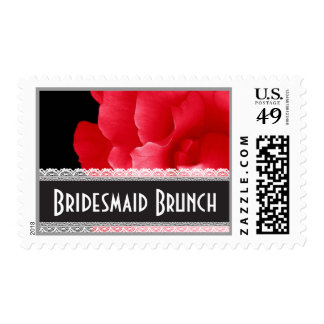 RED Rose and Lace BRIDESMAID BRUNCH Stamp