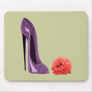 Red Rose and Lilac Stiletto Shoe Art Mouse Pad