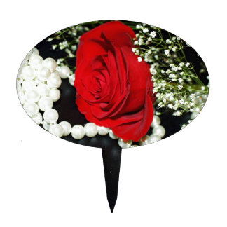 Red Rose and Pearls Cake Toppers