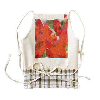 Red rose and petals zazzle HEART apron