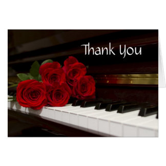 Red Rose and Piano Keys Stationery Note Card