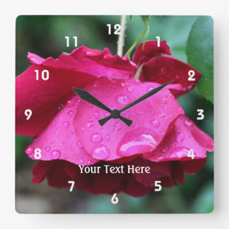 Red Rose And Raindrops Nature Square Wall Clock