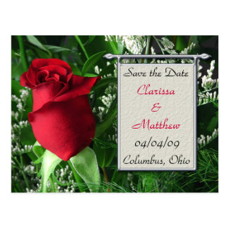 Red Rose and Silver Frame Save the Date Postcard