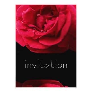 Red Rose and Water Drops birthday party invitation