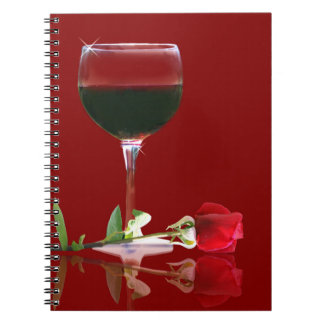 Red Rose and Wine Journal/Notebook Spiral Note Book