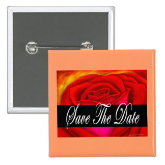 Red Rose Art Save The Date - Multi Pinback Buttons