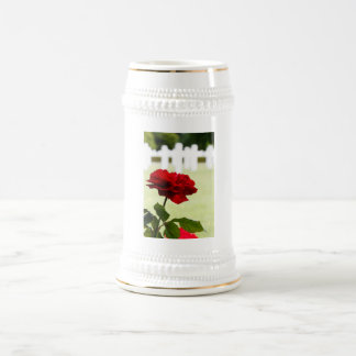 Red Rose at Cemetery Beer Stein