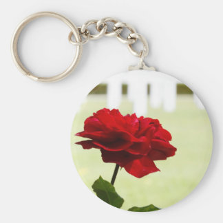 Red Rose at Cemetery Basic Round Button Keychain