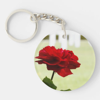 Red Rose at Cemetery Single-Sided Round Acrylic Keychain