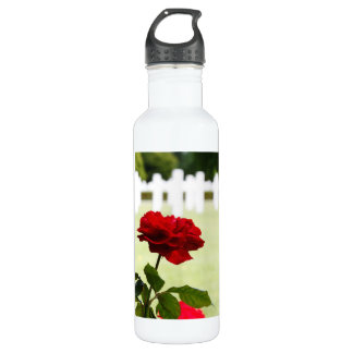 Red Rose at Cemetery Stainless Steel Water Bottle
