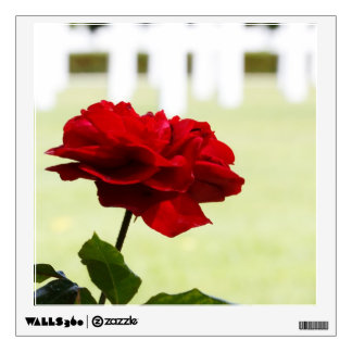 Red Rose at Cemetery Wall Decal