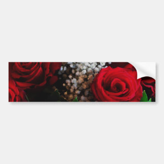 Red Rose Baby's Breath Bouquet Bumper Stickers