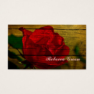 red rose barn wood country wedding business card