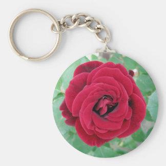 red rose basic round button keychain