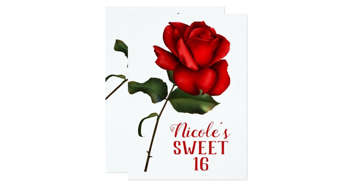 Red Rose Beauty The Beast Sweet 16 Party Invitation Zazzle Com