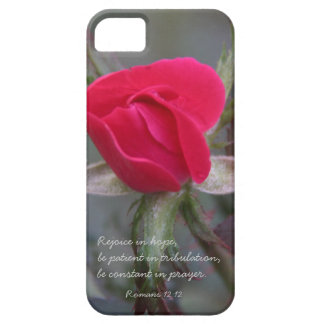 Red Rose Bible Verse about Hope Romans 12 12 iPhone 5 Cases