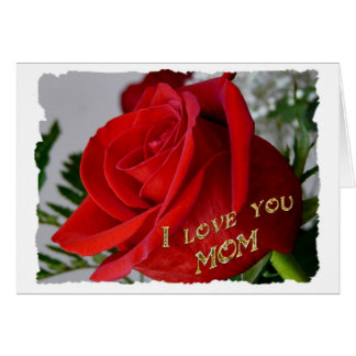 Red Rose Birthday-I love you Mom Card