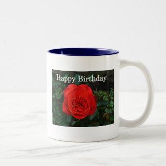 Red Rose Birthday Two-Tone Coffee Mug