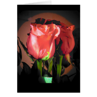 Red Rose Black Back Ground Your Text Card